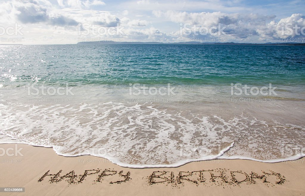 Happy Birthday Written In The Sand On Beach Royalty Free Stock Photo