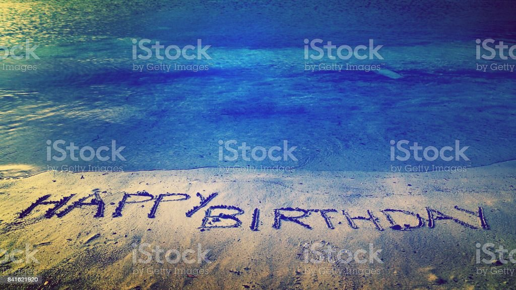 Happy Birthday Written On Beach Sand Royalty Free Stock Photo
