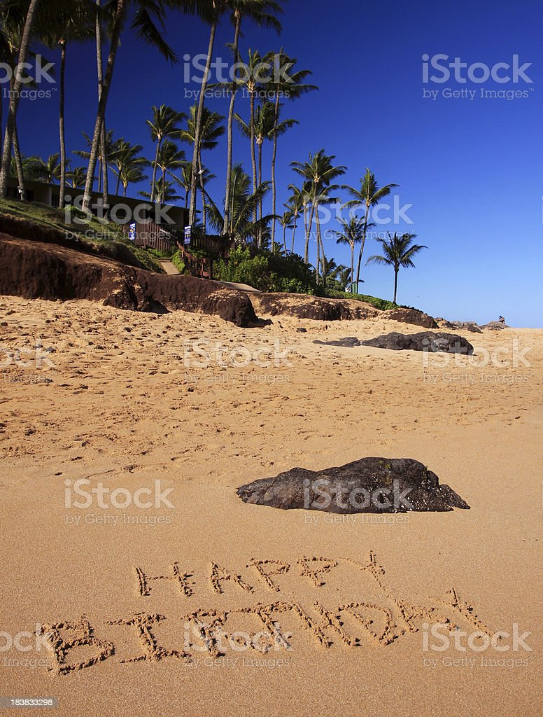Happy Birthday Written On Maui Hawaii Beach Sand Royalty Free Stock Photo