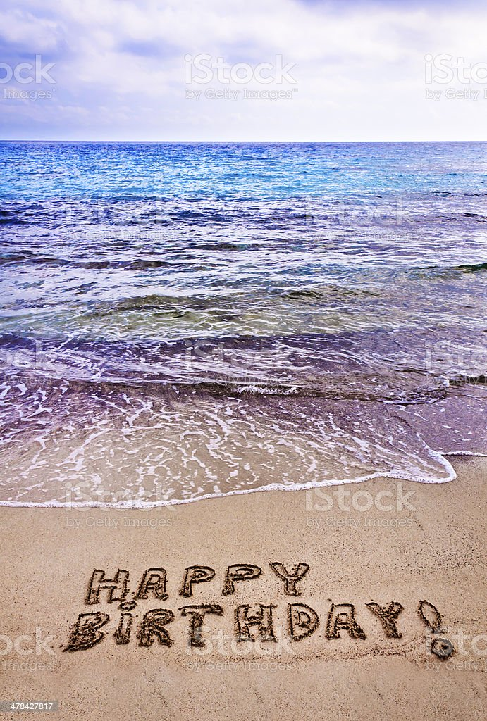 Happy Birthday Written On The Beach Royalty Free Stock Photo