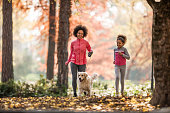 Happy African American mother and daughter running with golden retriever in the park.