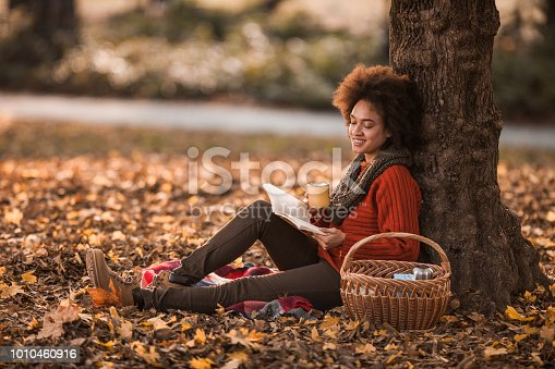 Relaxed African American woman reading a book on picnic in nature.