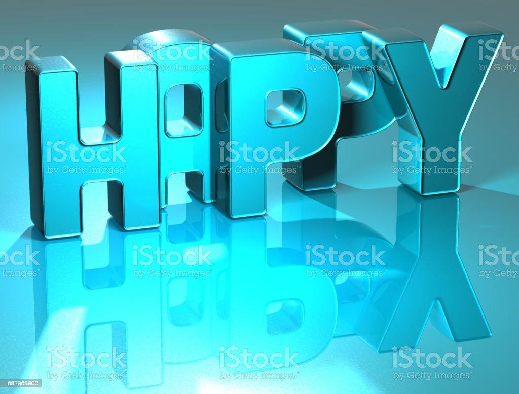 3D Happy Blue Text royalty-free stock photo