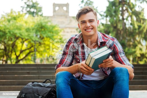 istock Happy bookworm. 509349623