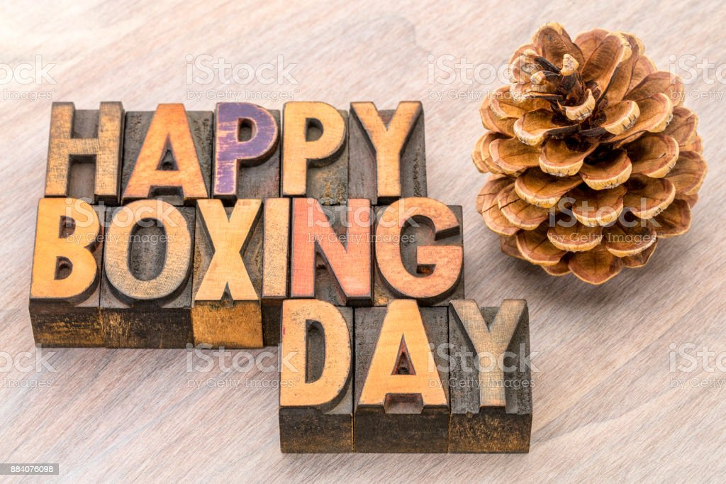 Happy Boxing Day word abstract in wood type stock photo
