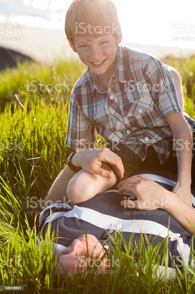Happy Boy Father grass royalty-free stock photo