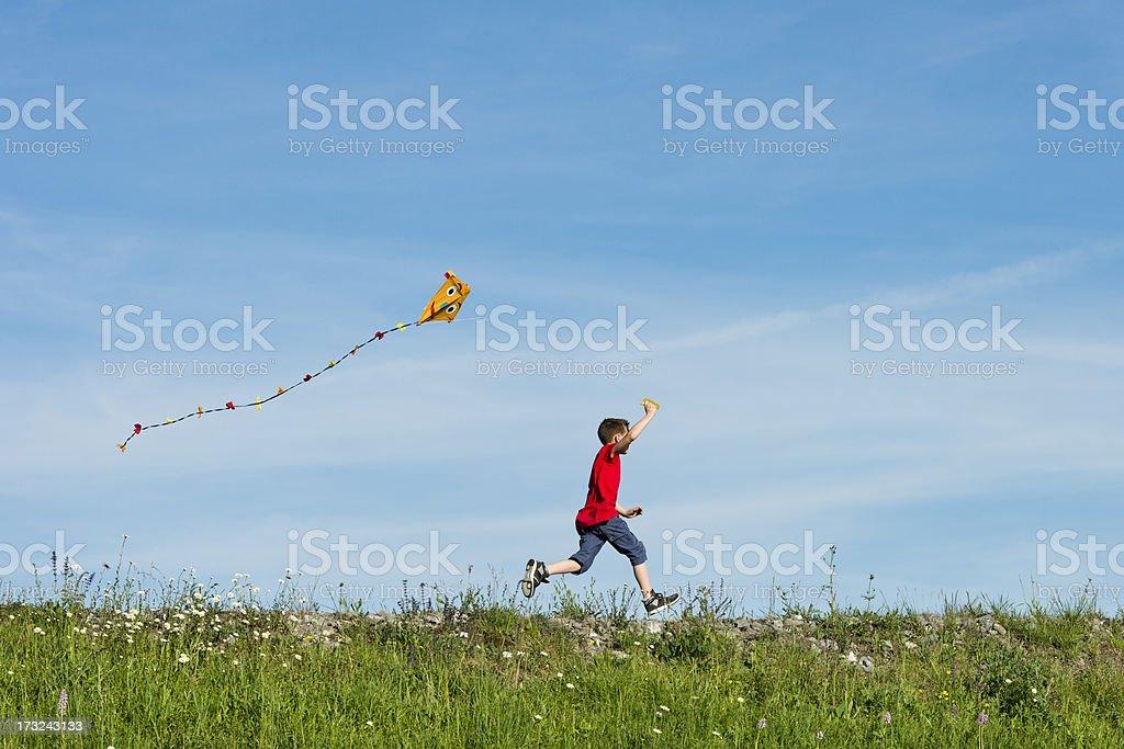 Felice ragazzo volare il suo aquilone - foto stock