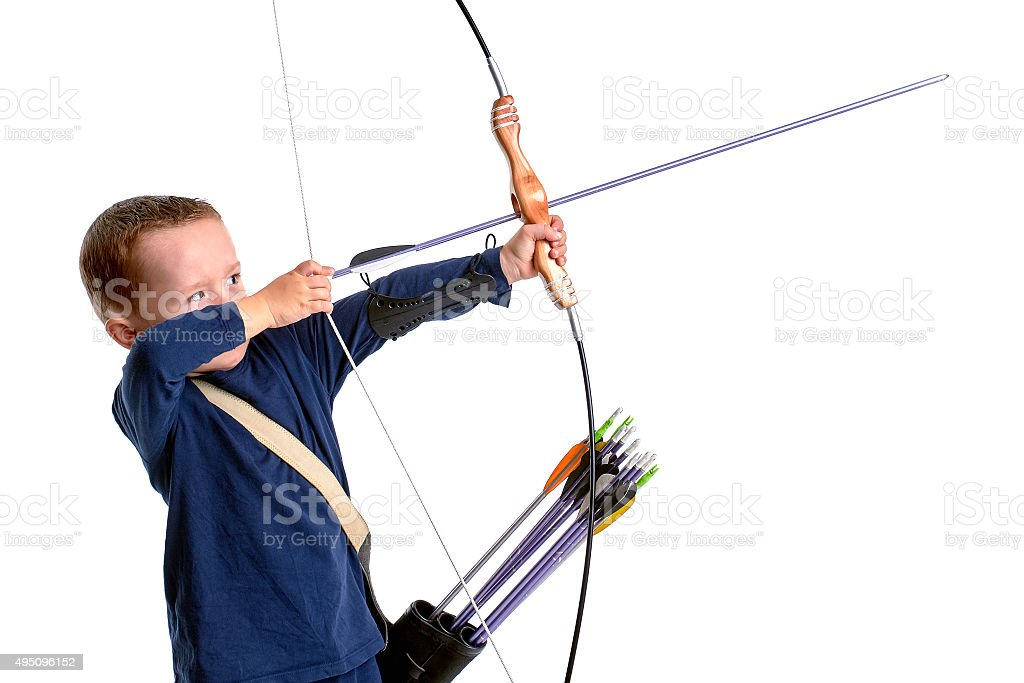 Happy boy, holding a handmade bow with an arrow stock photo