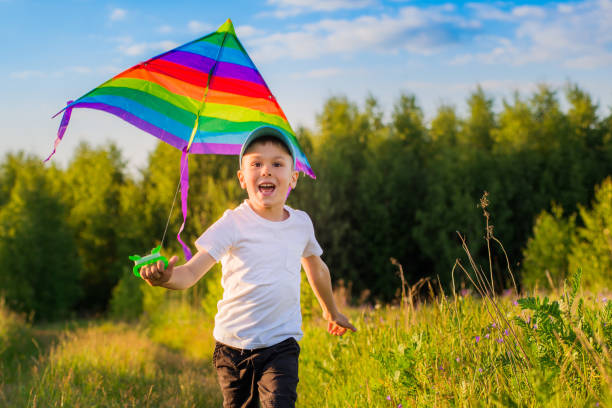 happy boy with a kite running in a meadow in summer in nature. - foto stock