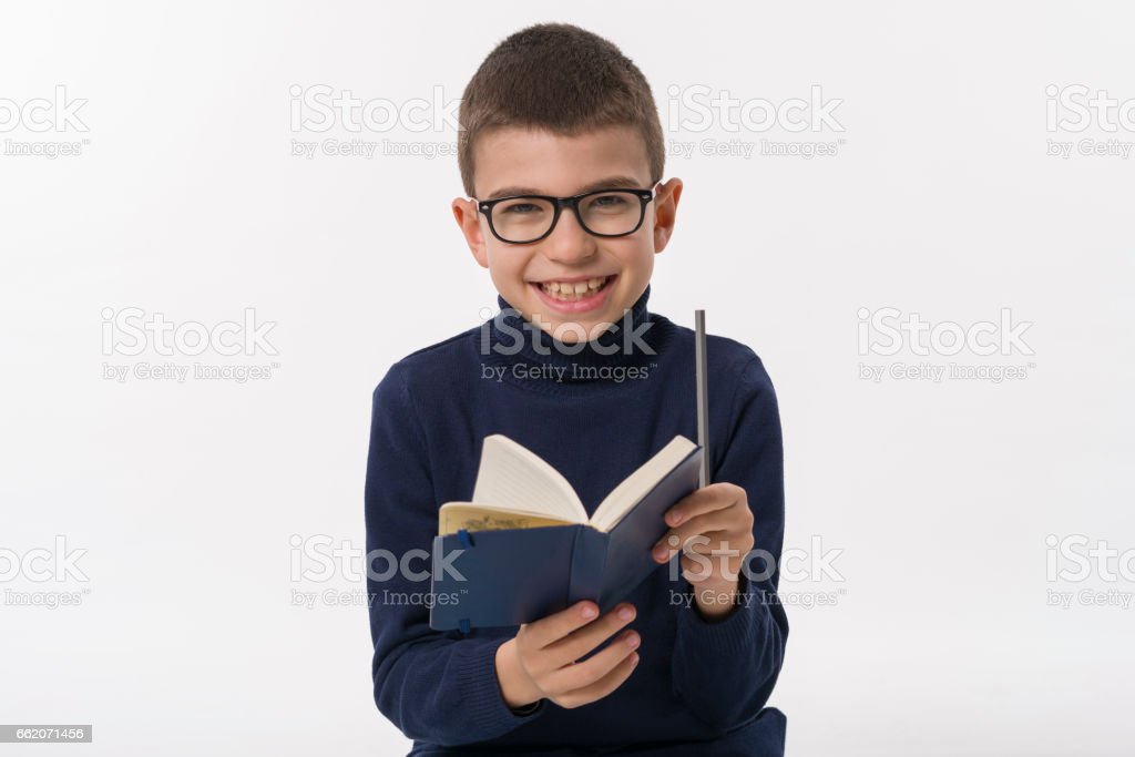 Happy boy with books royalty-free stock photo
