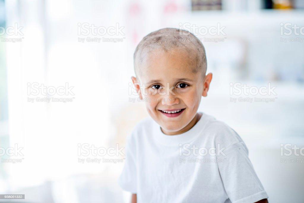 Happy Boy With Disease stock photo