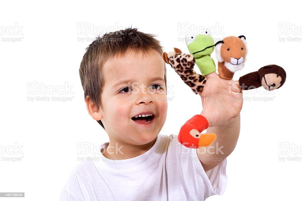 Glückliche junge mit finger Puppen – Foto