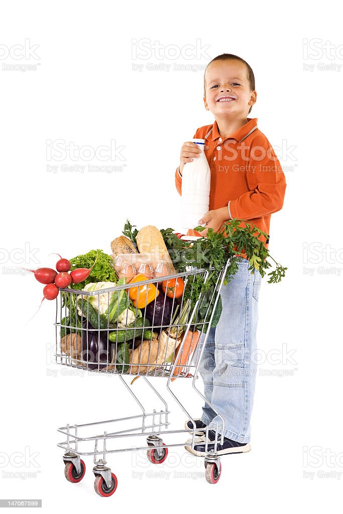 Happy boy with milk and groceries royalty-free stock photo