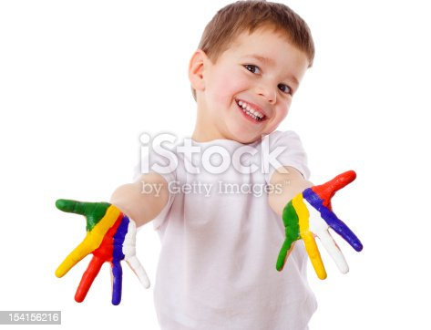 istock Happy boy with painted hands 154156216