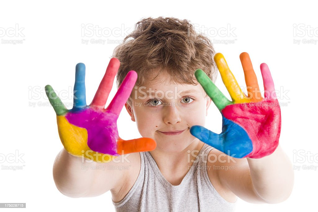 happy boy with painted hands royalty-free stock photo