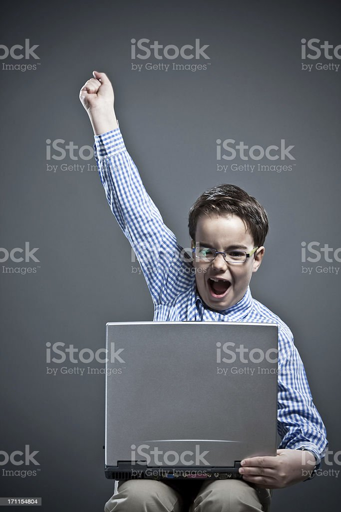 Happy boy with positive gesture royalty-free stock photo