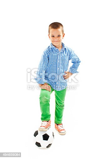 istock Happy boy with soccer ball 494659084