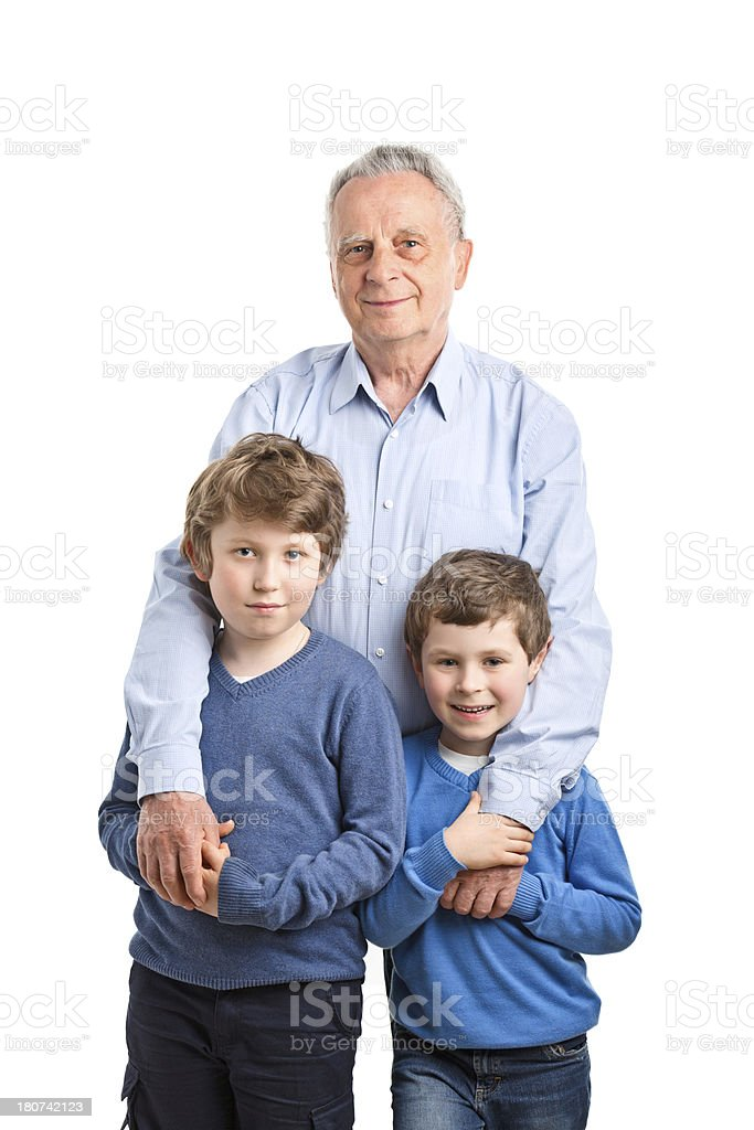 happy boys with grandfather royalty-free stock photo