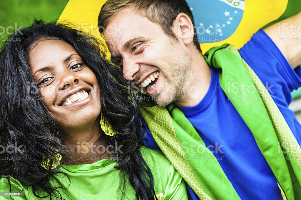 Happy Brazilian Fans stock photo
