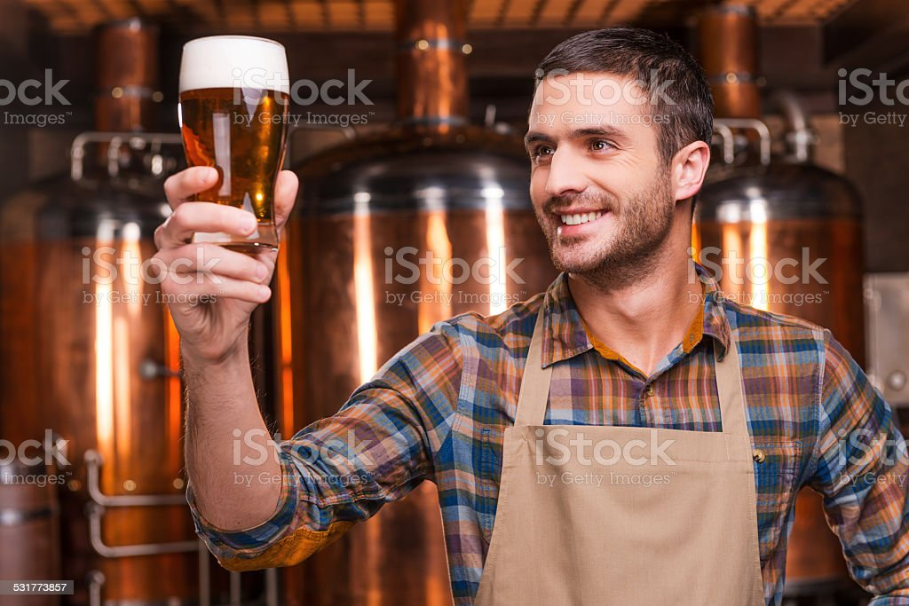 Happy brewer. stock photo