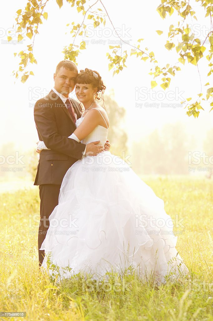 Happy bride and groom at sunset royalty-free stock photo