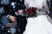 istock Happy bride and groom enjoying romantic moments outdoors. Wedding couple.Winter concept. 878279146