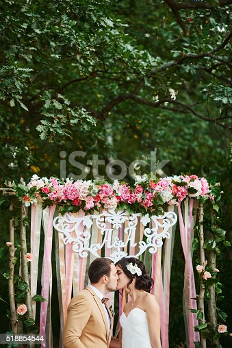 istock happy bride and groom in the autumn forest 518854544