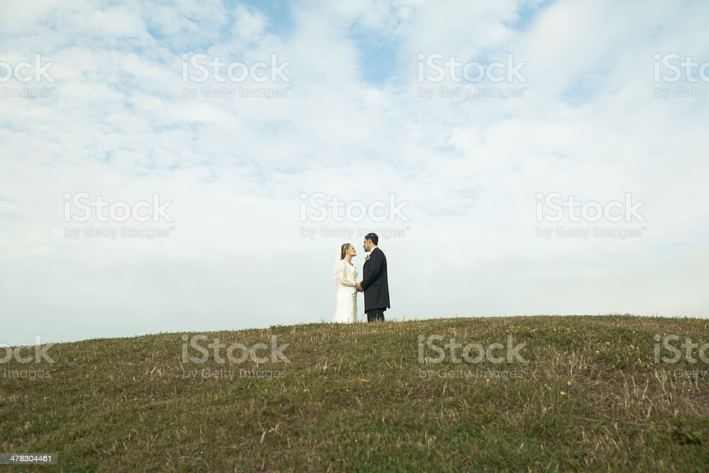 Happy bride and groom on a hill stock photo