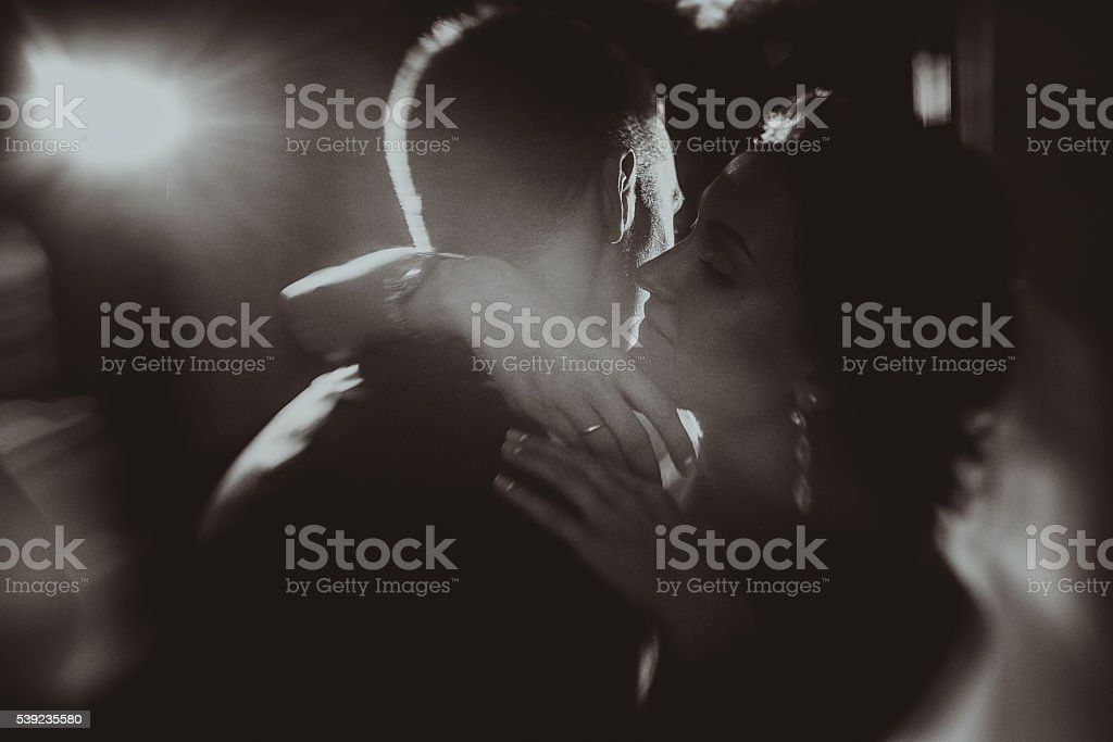 Happy bride and groom on their wedding royalty-free stock photo