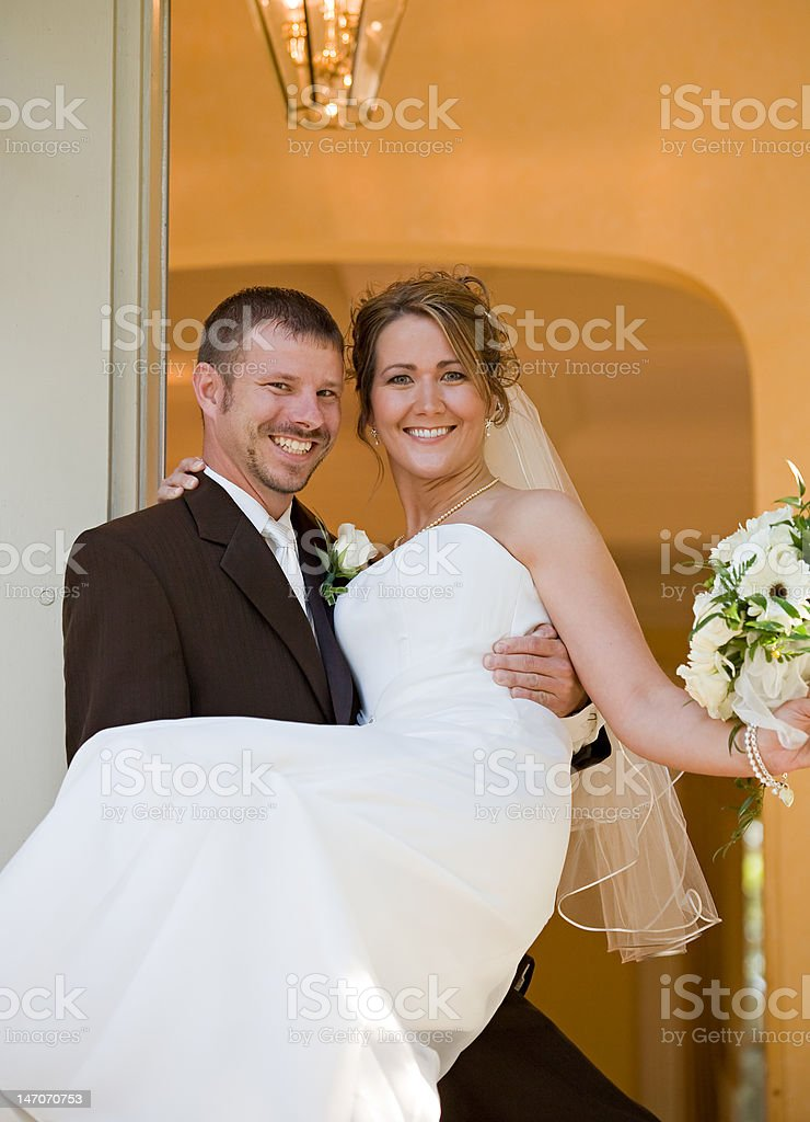 Happy Bride and Groom stock photo