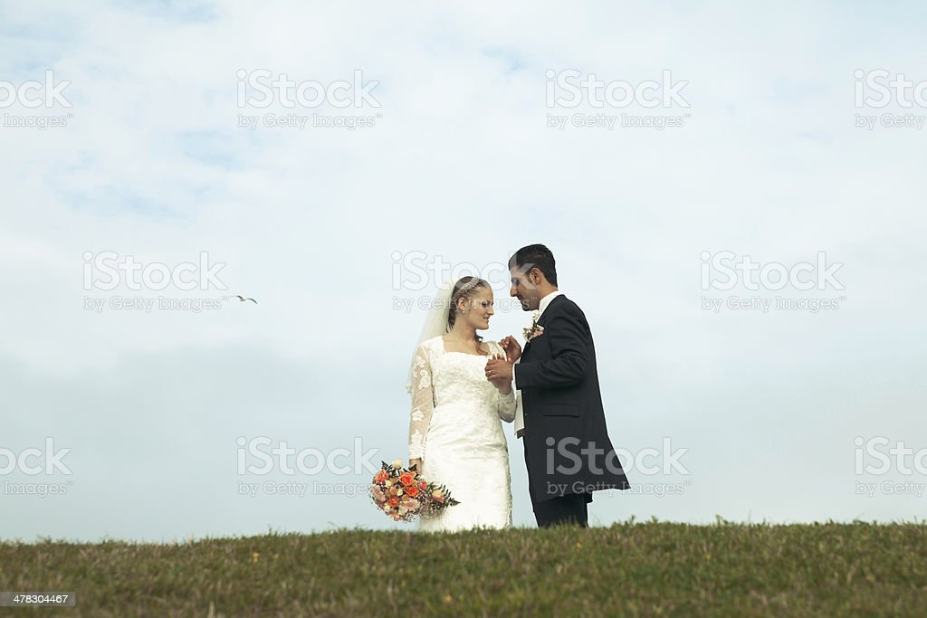 Happy bride and groom with bird in sky stock photo