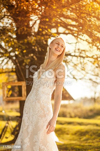 1054970060istockphoto Happy bride in nature 1170472998