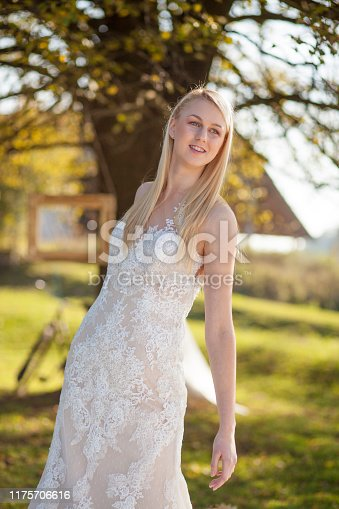 1054970060istockphoto Happy bride in nature 1175706616