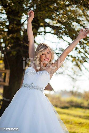 1054970060istockphoto Happy bride in nature 1177930030