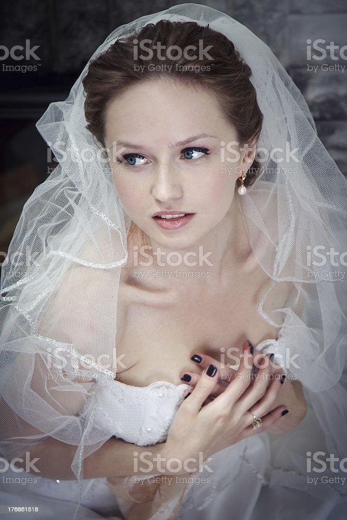 Happy bride on wedding. royalty-free stock photo
