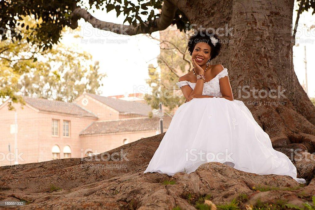 Happy Bride Outdoors stock photo