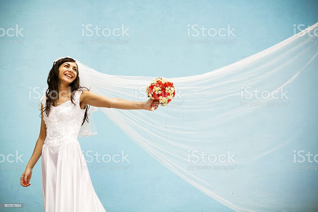 happy bride with a wedding bouquet royalty-free stock photo