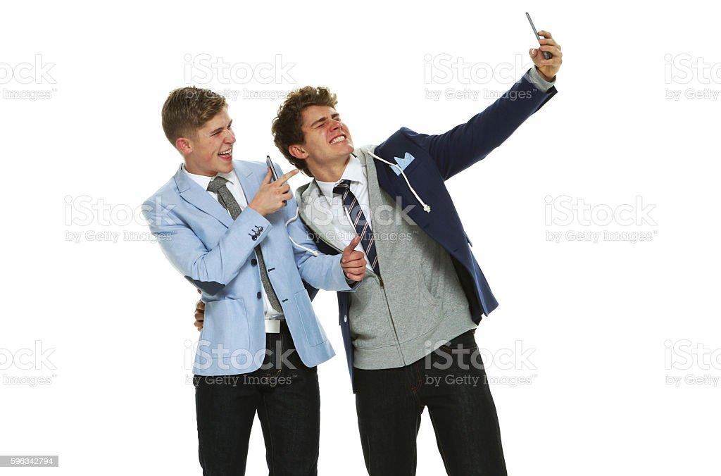 Happy brother taking a selfie Lizenzfreies stock-foto