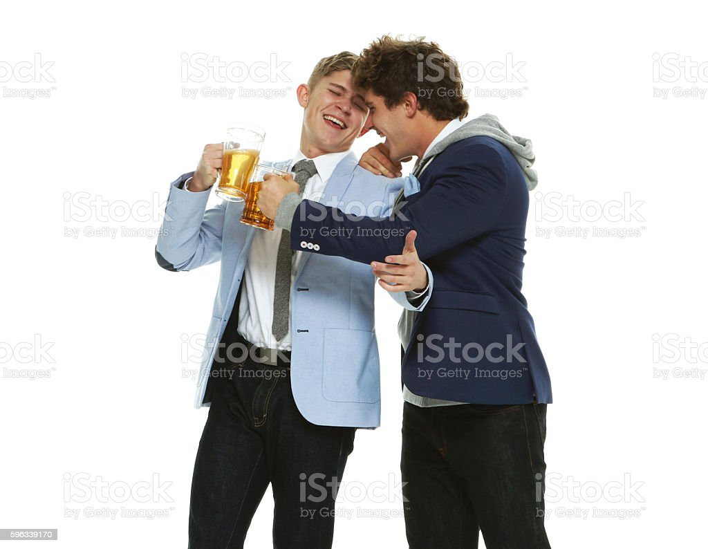 Happy brothers drinking beer royalty-free stock photo