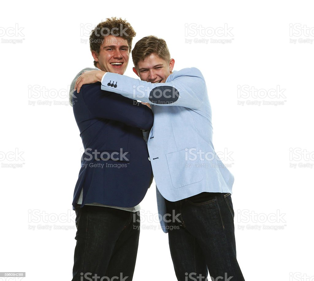 Happy brothers embracing Lizenzfreies stock-foto