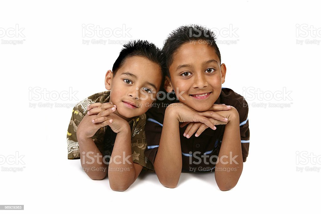 Happy Brothers Smiling on White Background royalty-free stock photo
