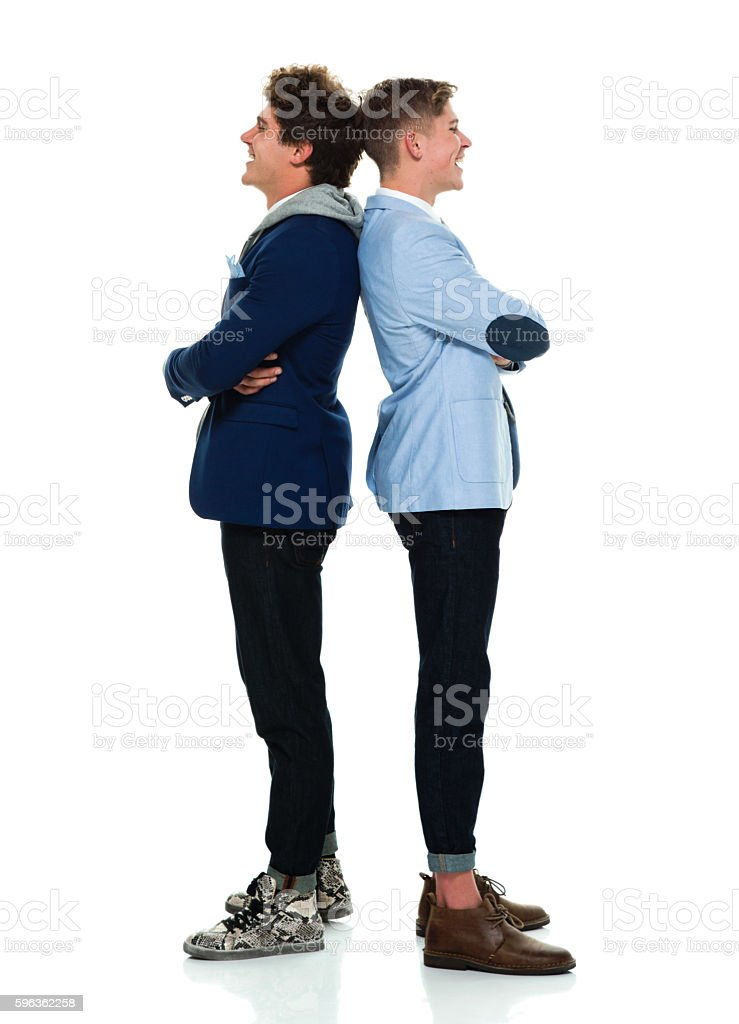 Happy brothers standing together royalty-free stock photo