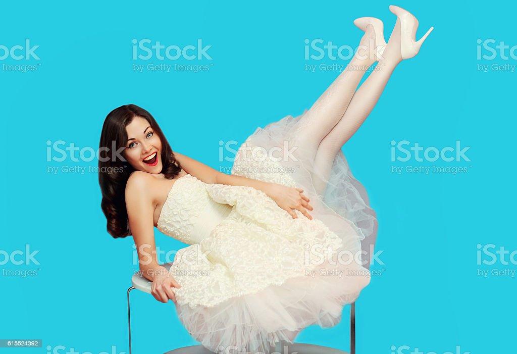 Happy Brunette Bride Woman In White Wedding Dress Having Fun Stock ...