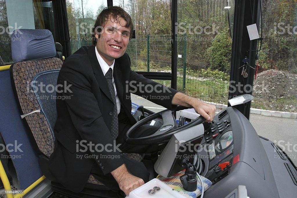 Happy bus driver royalty-free stock photo