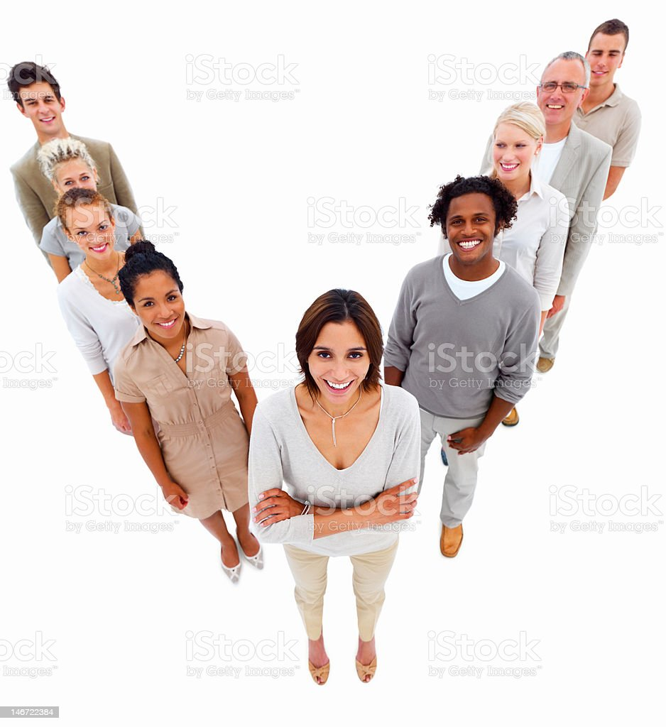Happy business colleagues standing in a line royalty-free stock photo