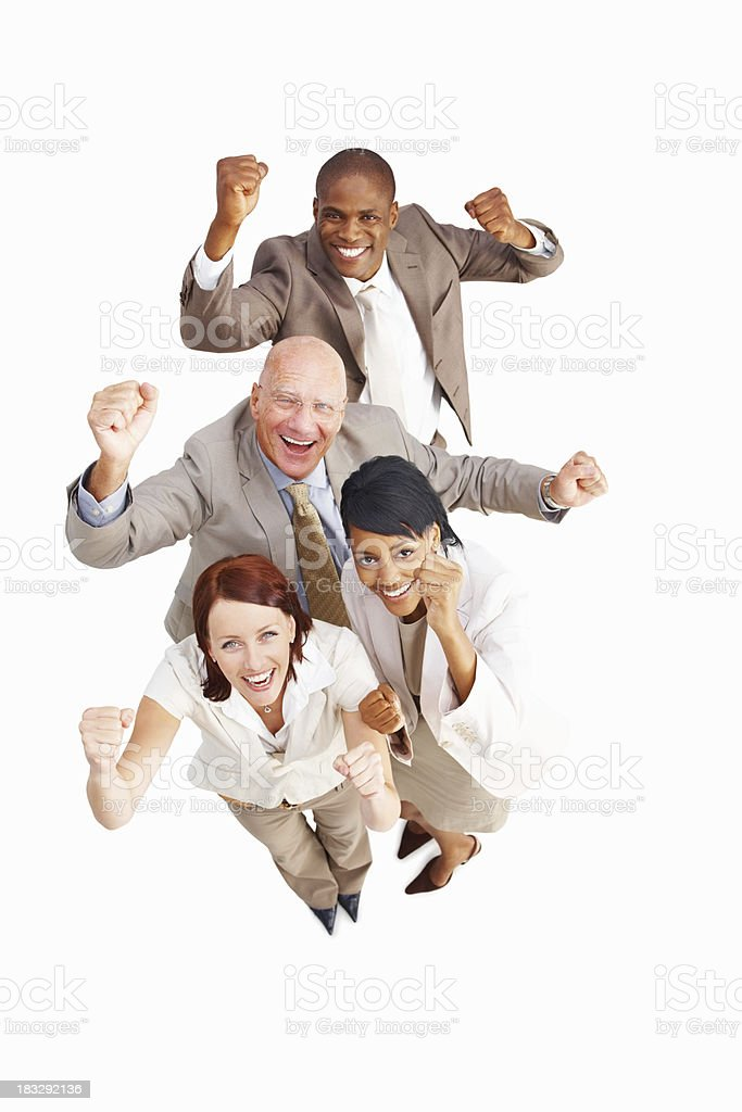 Happy business executives standing against white background royalty-free stock photo
