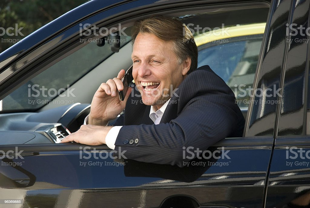 happy business in car royalty-free stock photo