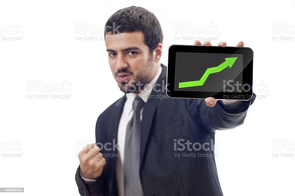 Happy Business man shows rising graph stock photo