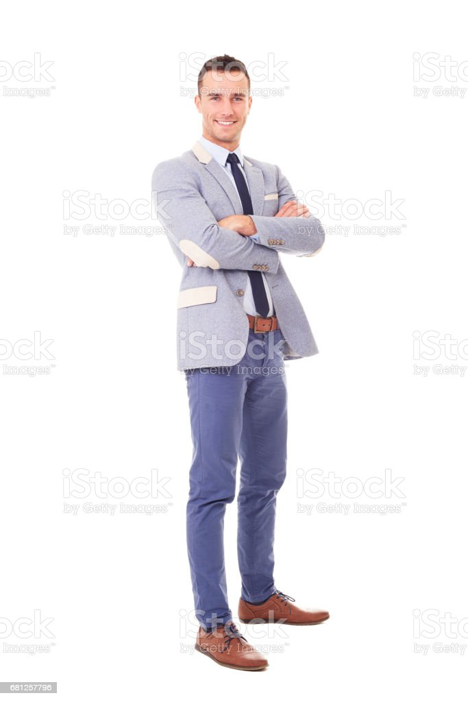Happy business man with crossed arms stock photo