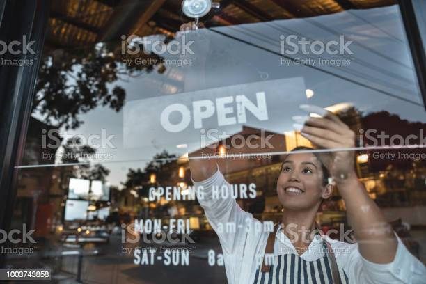 Happy business owner hanging an open sign at a restaurant picture id1003743858?b=1&k=6&m=1003743858&s=612x612&h=43k4tdjumnmvh1absrffhwfxmkjyuq4ikqffdrxz py=